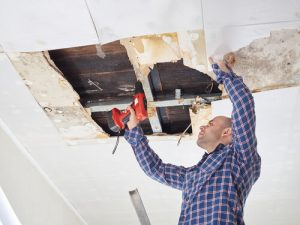 How do you fix a water damaged ceiling