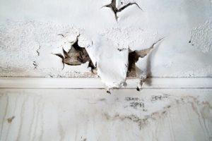 What does water damage on a ceiling look like